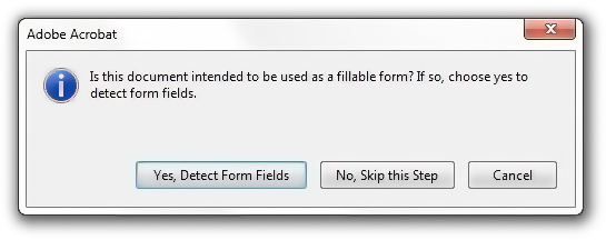 Detect form fields dialog box