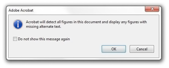 Detect missing alt text dialog box