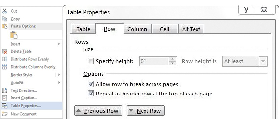 Repeat header row option in Table Proerties dialog box